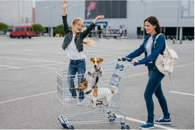 Happy young mother, daughter and their two dogs in shopping cart preparing their new puppy checklist