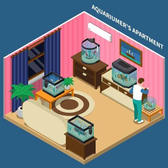 Illustration of small piece of apartment with home aquarium fish