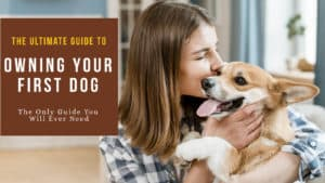 Woman holding and kissing her dog with text: THE ULTIMATE BEGINNER GUIDE TO OWNING YOUR FIRST DOG NEW PUPPY CHECKLIST
